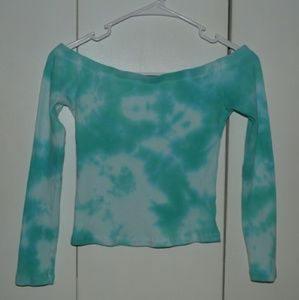 💙 Tie-Dye Off the Shoulder Cropped Top 💙